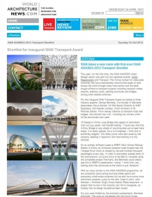 WAN Awards Transport 2012: Shizimen The Infinity Loop Bridge, Zhuhai, China